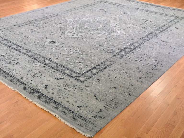 Indian Gray Oversized Broken Persian Erased Design Silk with Textured Wool Hand Knotted