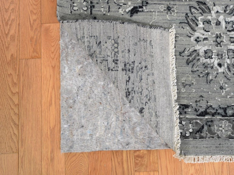 Hand-Knotted Gray Oversized Broken Persian Erased Design Silk with Textured Wool Hand Knotted