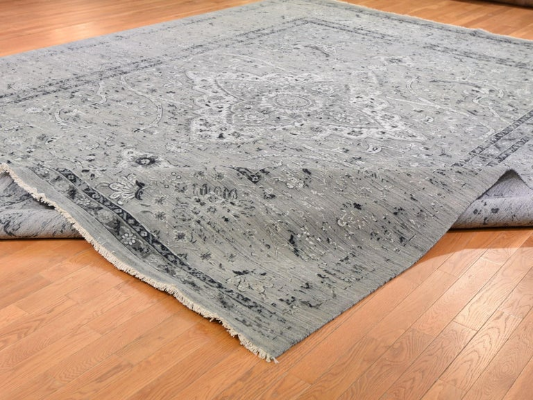 Contemporary Gray Oversized Broken Persian Erased Design Silk with Textured Wool Hand Knotted