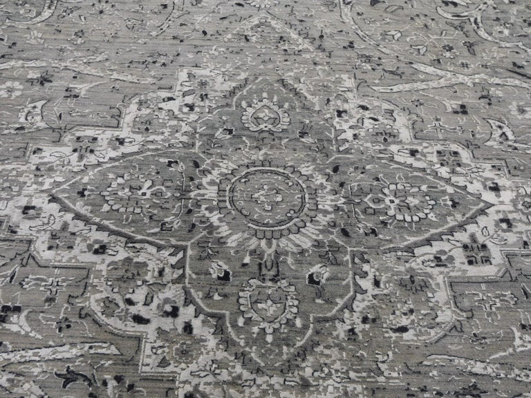 Gray Oversized Broken Persian Erased Design Silk with Textured Wool Hand Knotted 2