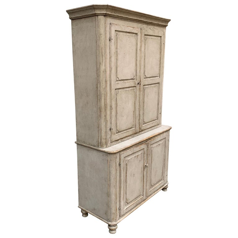 Gray painted Gustavian two-piece kitchen cupboard or cabinet, Sweden  EUR 175 delivery to most areas of London UK, The Netherlands, Belgium, Denmark, Sweden and Northern Germany.
