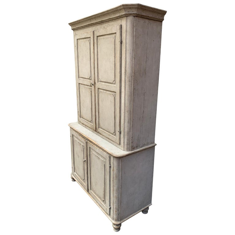 Swedish Gray Painted Gustavian Two-Piece Cabinet or Cupboard, Sweden, Early 19th Century For Sale