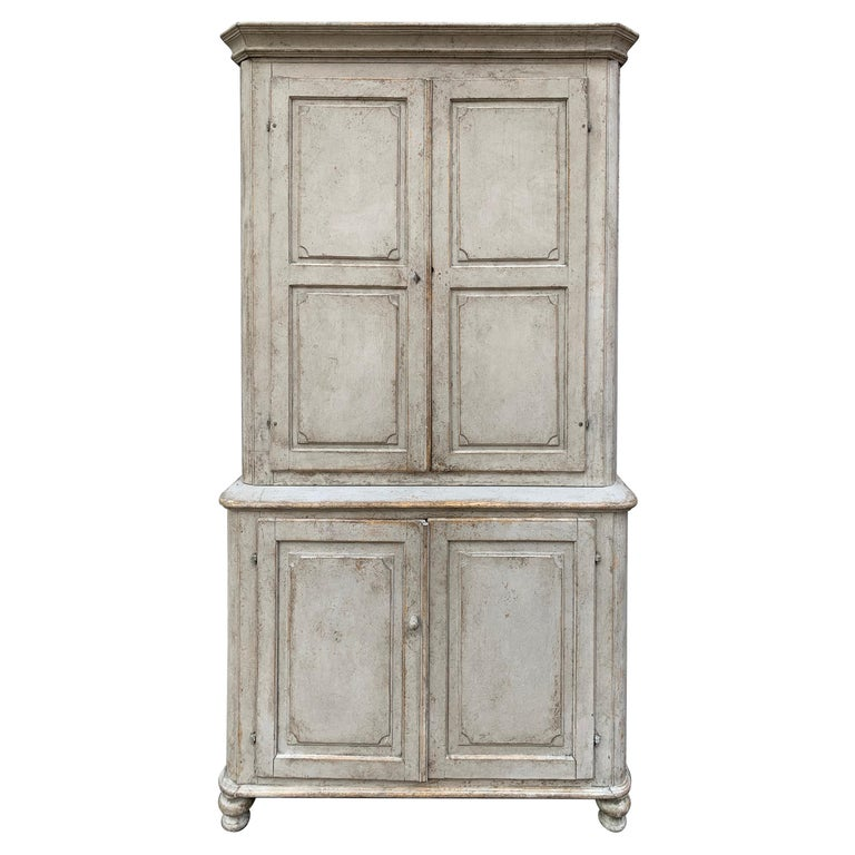 Gray Painted Gustavian Two-Piece Cabinet or Cupboard, Sweden, Early 19th Century For Sale