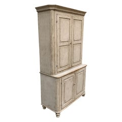Gray Painted Gustavian Two-Piece Cabinet or Cupboard, Sweden, Early 19th Century