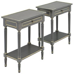 Gray Painted Louis XVI Style Side Tables