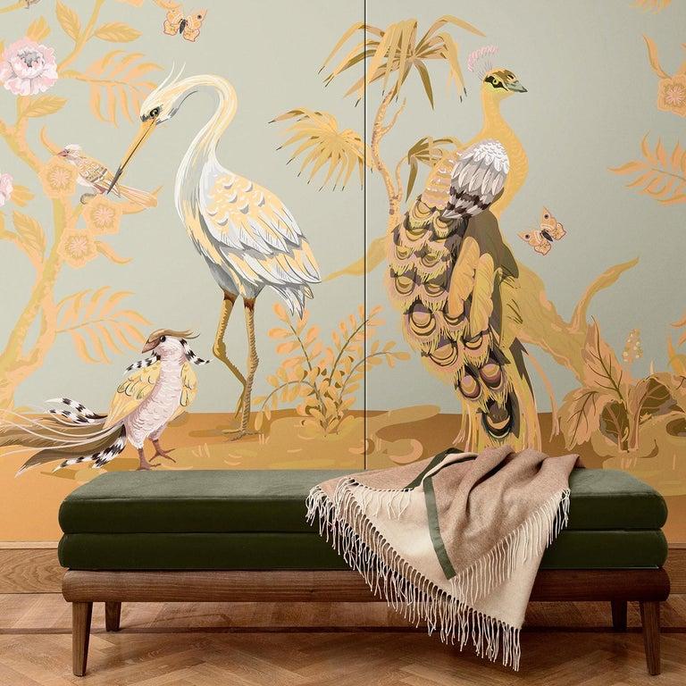 Modern Gray Peacock and Herons Panel For Sale