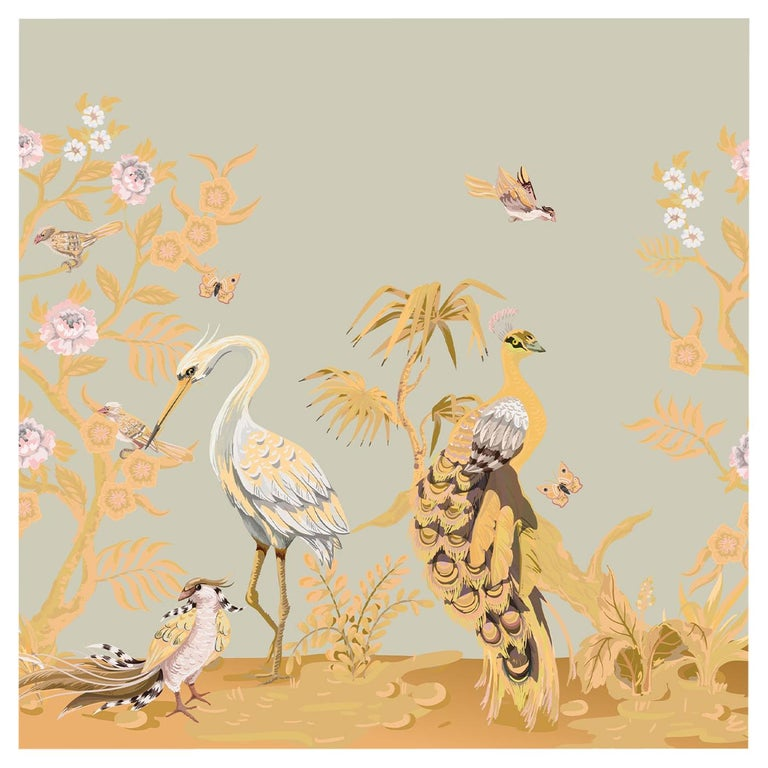Gray Peacock and Herons Panel For Sale