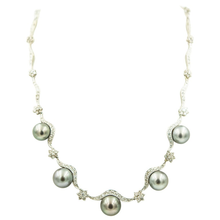 Gray Pearl and Diamond Floral Swag White Gold Necklace For Sale