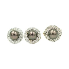 Gray Pearl and Diamond White Gold Cocktail Ring and Earrings Suite Set