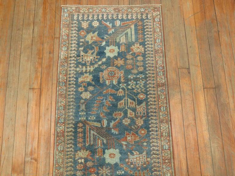 Tabriz Gray Persian Malayer Narrow Runner For Sale