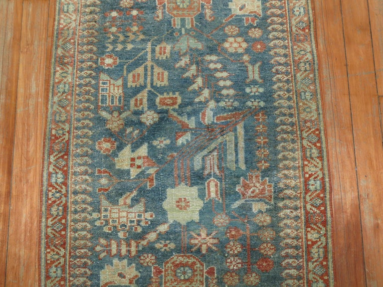 Hand-Woven Gray Persian Malayer Narrow Runner For Sale