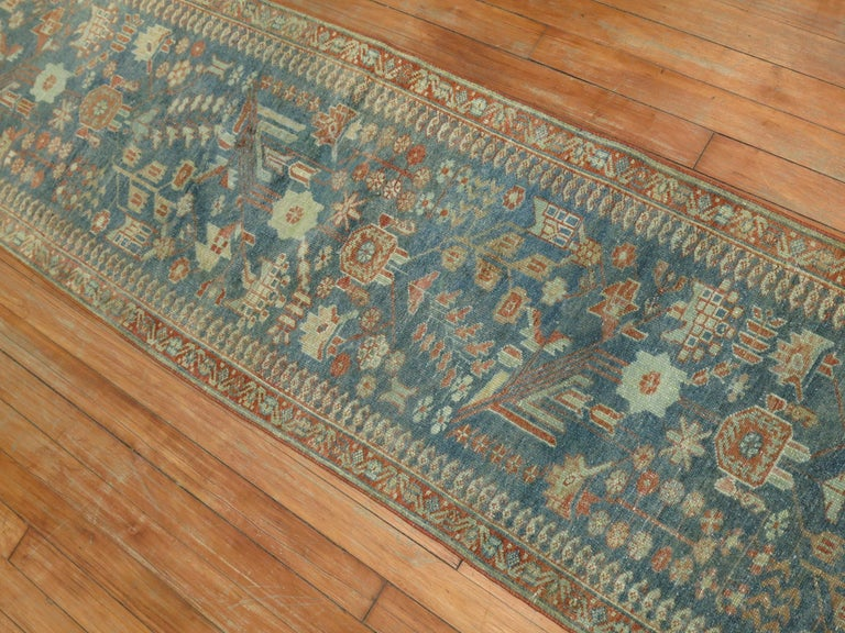 Gray Persian Malayer Narrow Runner In Good Condition For Sale In New York, NY