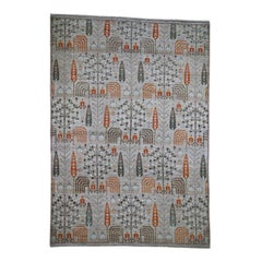 Gray Peshawar Willow and Cypress Tree Design Hand Knotted Oriental Rug