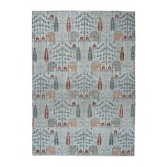 Gray Peshawar Willow & Cypress Tree Design Hand Knotted Oriental Rug