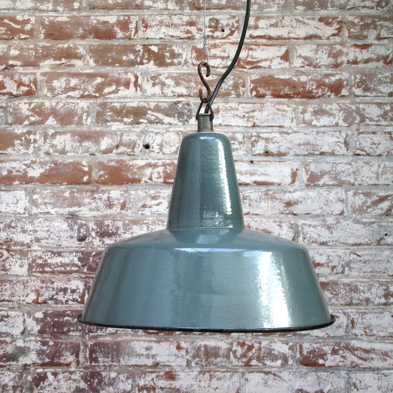 Petrol enamel industrial pendant. White interior.  Weight: 2.0 kg / 4.4 lb  Priced per individual item. All lamps have been made suitable by international standards for incandescent light bulbs, energy-efficient and LED bulbs. E26/E27 bulb