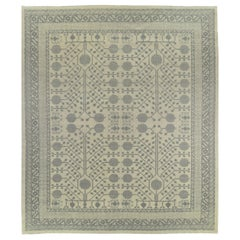 Gray Pomegranate Design Hand Knotted Wool Area Rug
