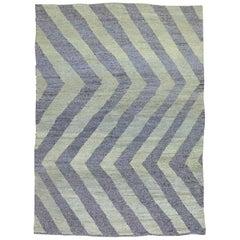 Gray Purple Modern Persian Flat-Weave Rug
