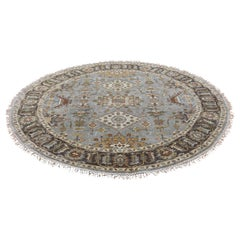 Gray Round Karajeh Design Pure Wool Hand Knotted Oriental Rug