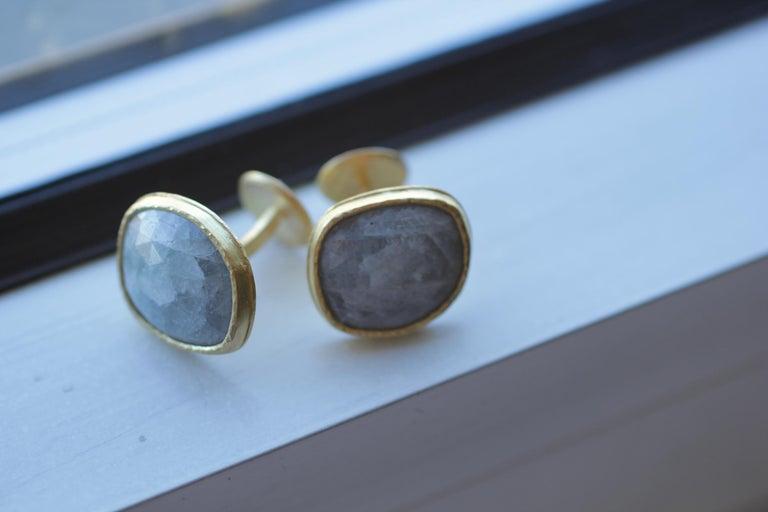 Light Blue Sapphire Diamonds 22K Gold Cufflinks Gift for Men Women Unisex For Sale 4