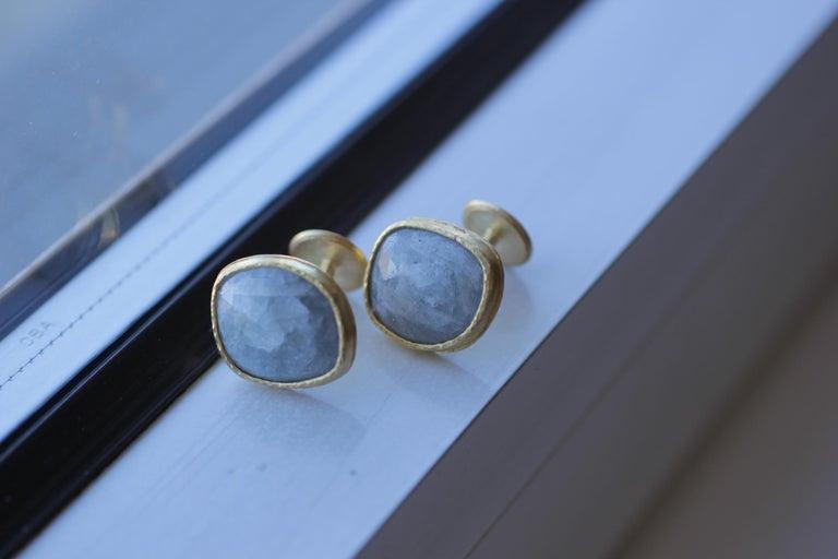 Light Blue Sapphire Diamonds 22K Gold Cufflinks Gift for Men Women Unisex For Sale 5