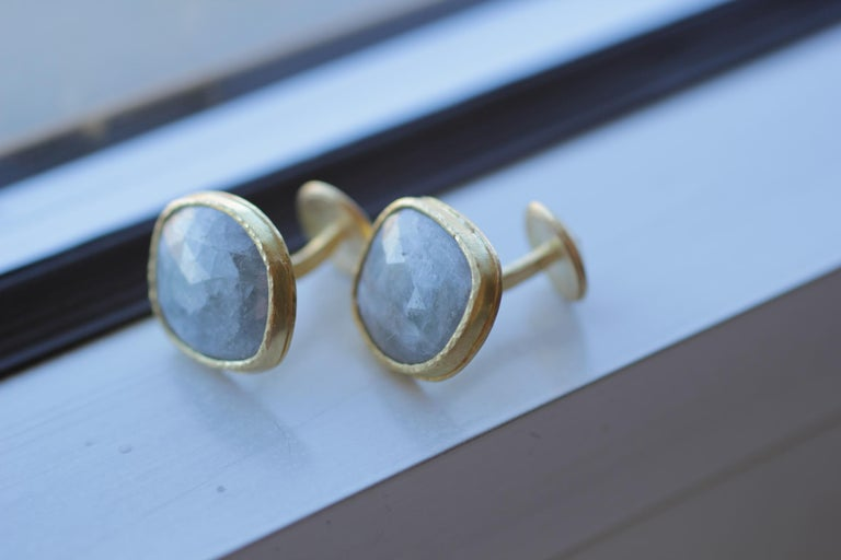 Light Blue Sapphire Diamonds 22K Gold Cufflinks Gift for Men Women Unisex For Sale 6