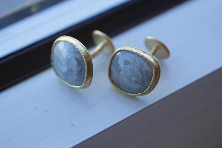 Light Blue Sapphire Diamonds 22K Gold Cufflinks Gift for Men Women Unisex For Sale 7