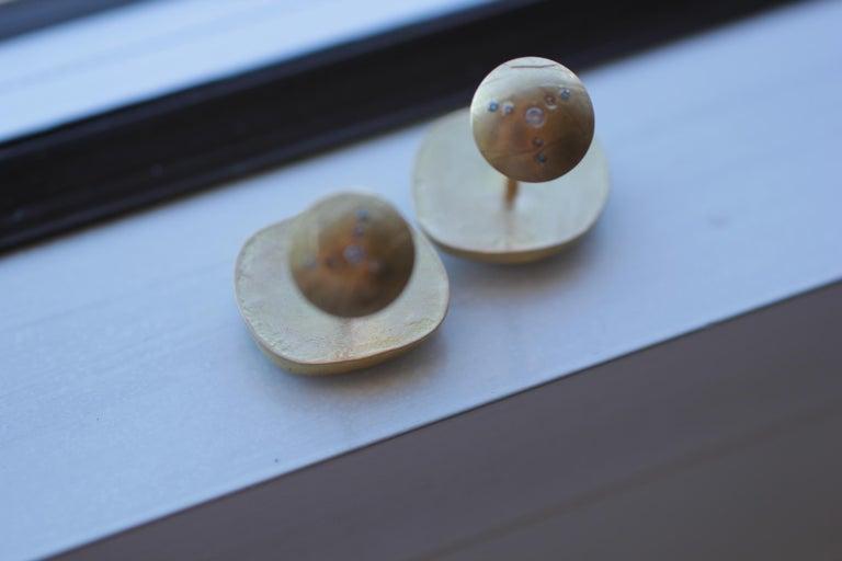 Light Blue Sapphire Diamonds 22K Gold Cufflinks Gift for Men Women Unisex For Sale 12