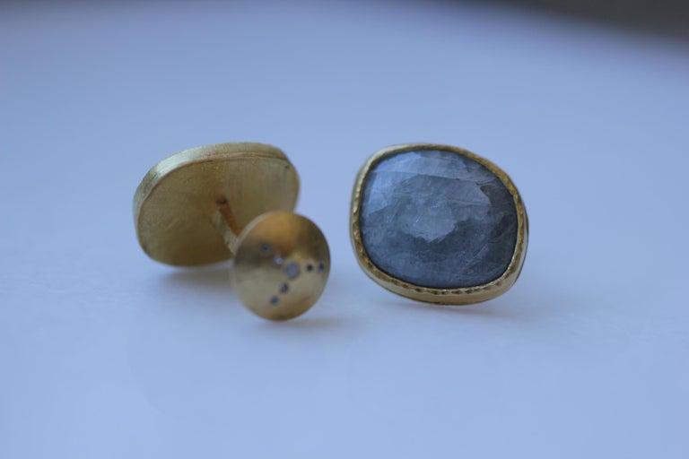 Light Blue Sapphire Diamonds 22K Gold Cufflinks Gift for Men Women Unisex In New Condition For Sale In New York, NY