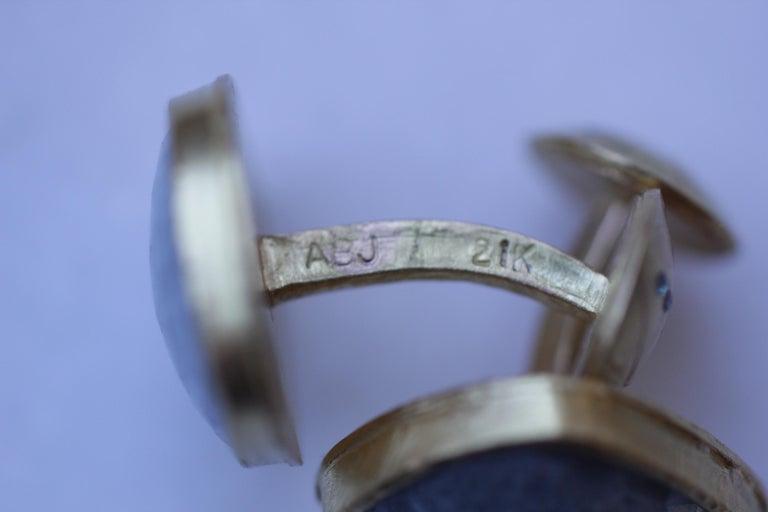 Women's or Men's Light Blue Sapphire Diamonds 22K Gold Cufflinks Gift for Men Women Unisex For Sale