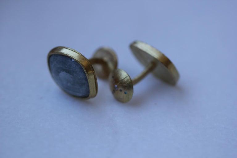 Light Blue Sapphire Diamonds 22K Gold Cufflinks Gift for Men Women Unisex For Sale 1