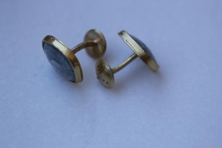 Light Blue Sapphire Diamonds 22K Gold Cufflinks Gift for Men Women Unisex For Sale 2
