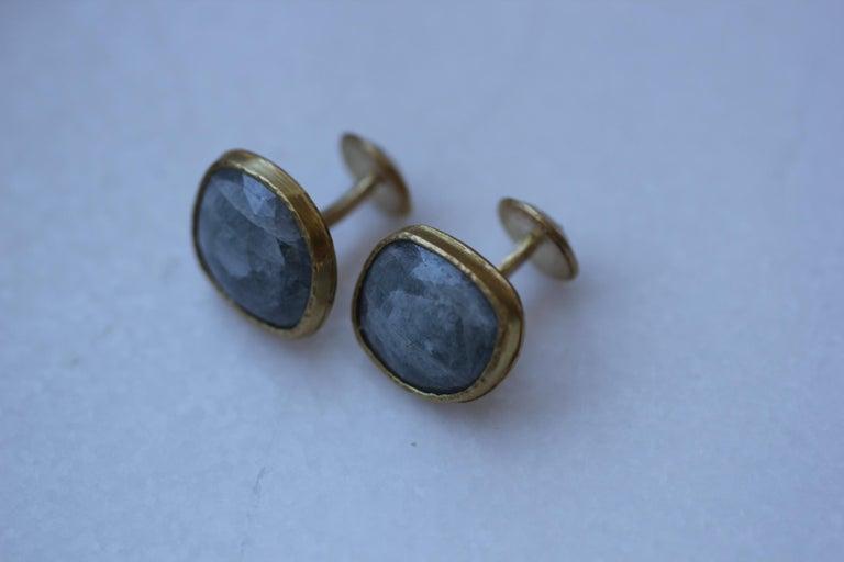 Light Blue Sapphire Diamonds 22K Gold Cufflinks Gift for Men Women Unisex For Sale 3