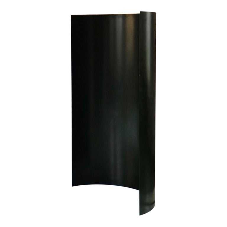 Gray Screen, Deep Green, Curved Aluminium Dressing Screen Room Divider For Sale