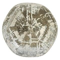 Gray Shiny Cut Velvet Ball Pillow