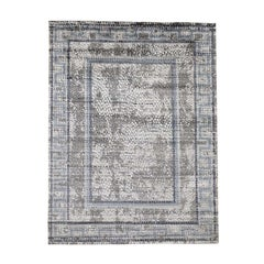 Gray Silken Roman Mosaic Design Hand Knotted Oriental Rug