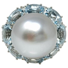 Gray South Sea Pearl, White Diamond and Blue Topaz Ring in 18 Karat Gold