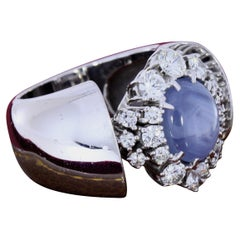 Gray Star Sapphire and Diamond Cluster Platinum Ring