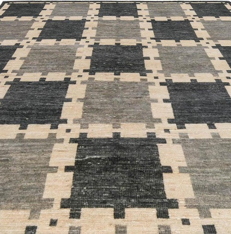 Scandinavian Modern Gray Swedish Geometric Design Pile Rug For Sale