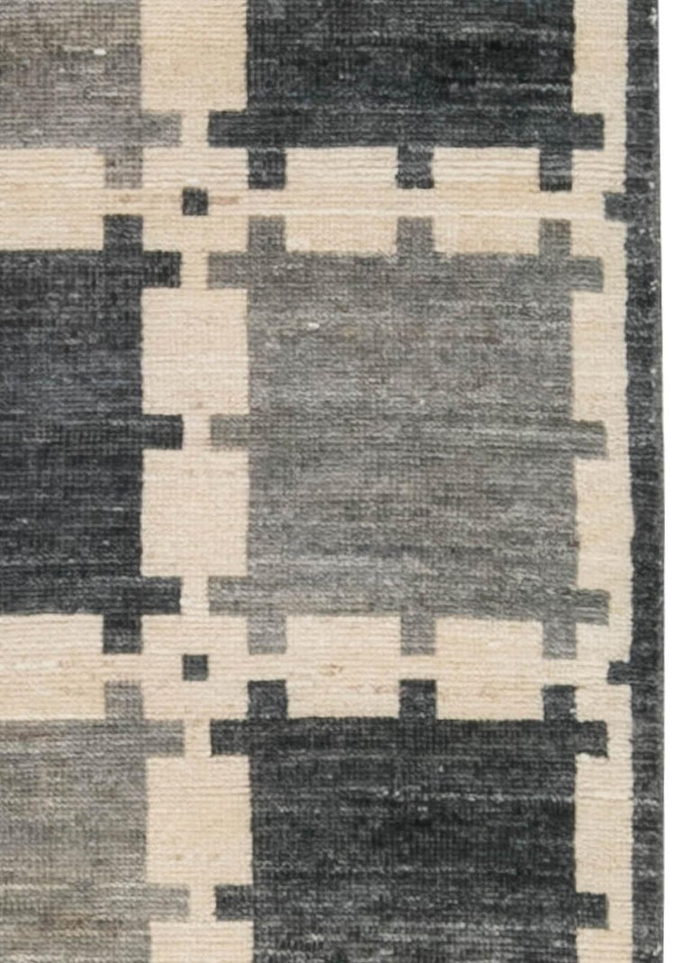 Hand-Knotted Gray Swedish Geometric Design Pile Rug For Sale