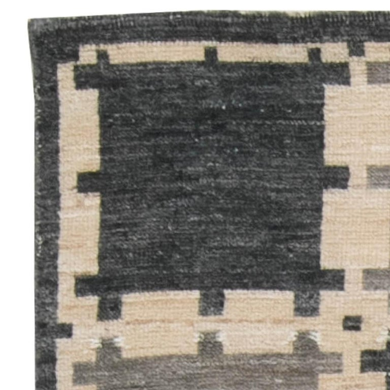Contemporary Gray Swedish Geometric Design Pile Rug For Sale