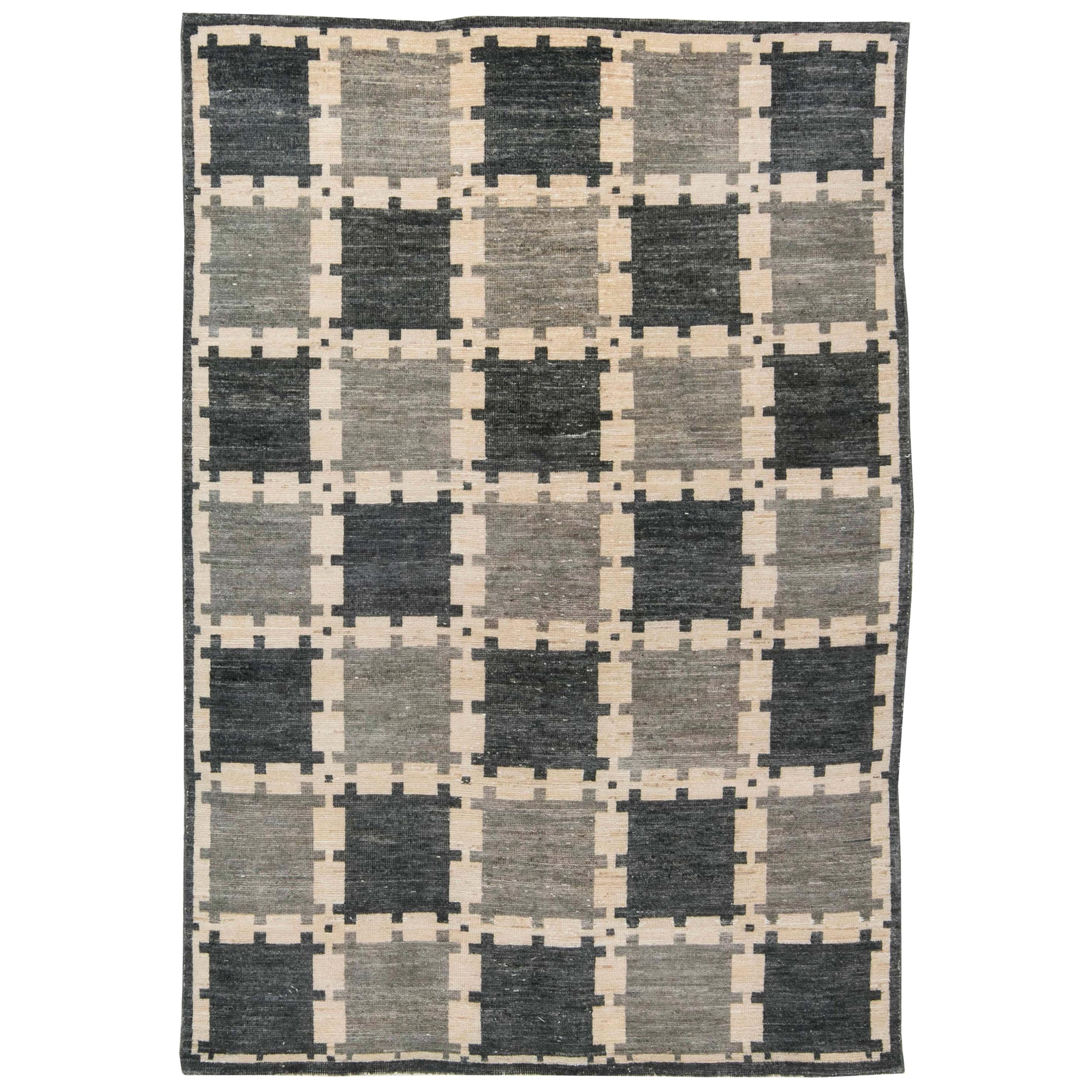 Gray Swedish Geometric Design Pile Rug