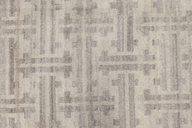 Indian Gray Terra Rug in Natural Wool For Sale