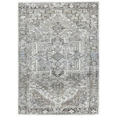 Gray Vintage and Worn Persian Heriz Hand Knotted Oriental Rug
