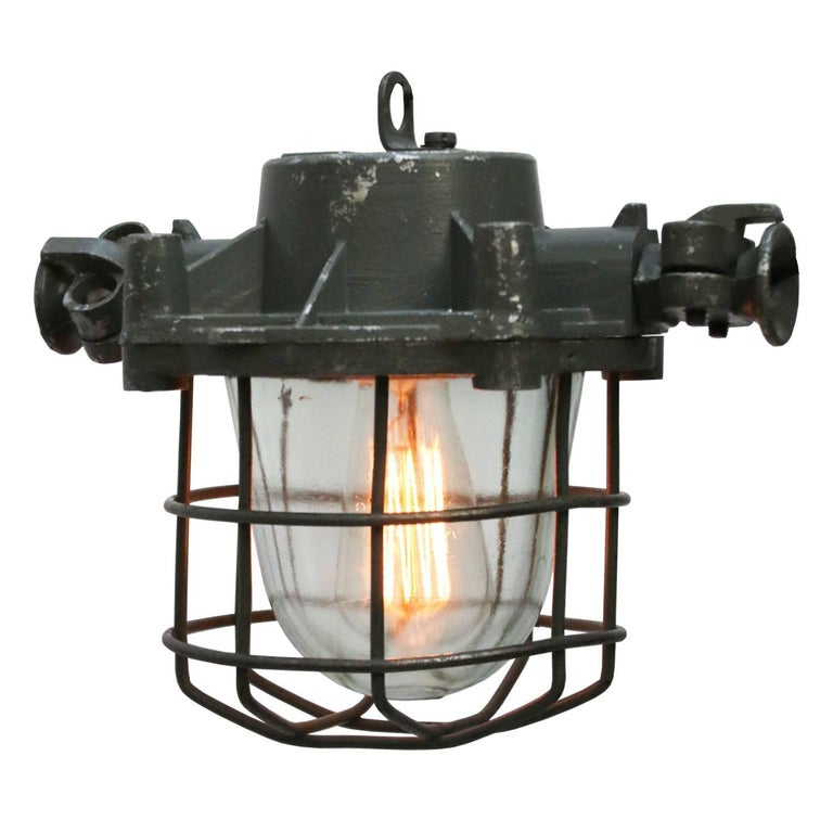 Gray Vintage Industrial Cage Hanging Lamps Bully (2x)