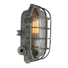 Gray Vintage Industrial Cast Aluminium Clear Glass Wall Ceiling Lamp Scone