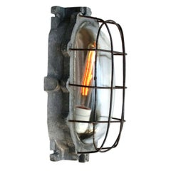 Gray Vintage Industrial Cast Aluminium Wall Lamp Scone Clear Glass