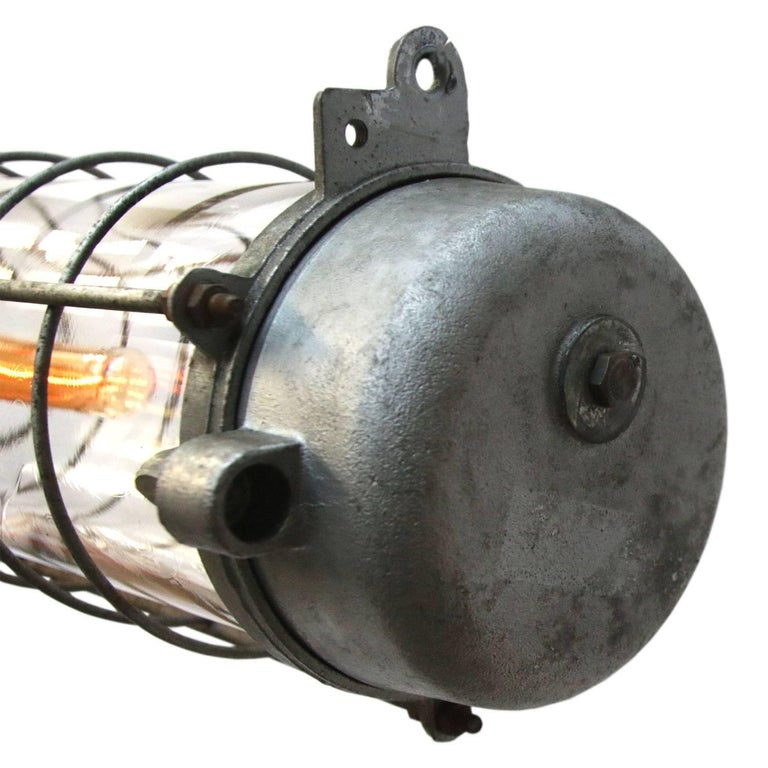 20th Century Gray Vintage Industrial Cast Aluminum Clear Glass Pendant Lights For Sale