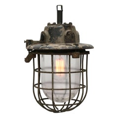 Gray Vintage Industrial Cast Iron Clear Glass Cage Hanging Lamp