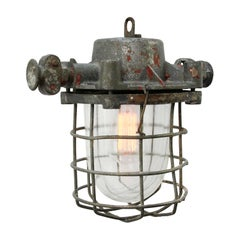 Gray Vintage Industrial Clear Glass Factory Pendant Light