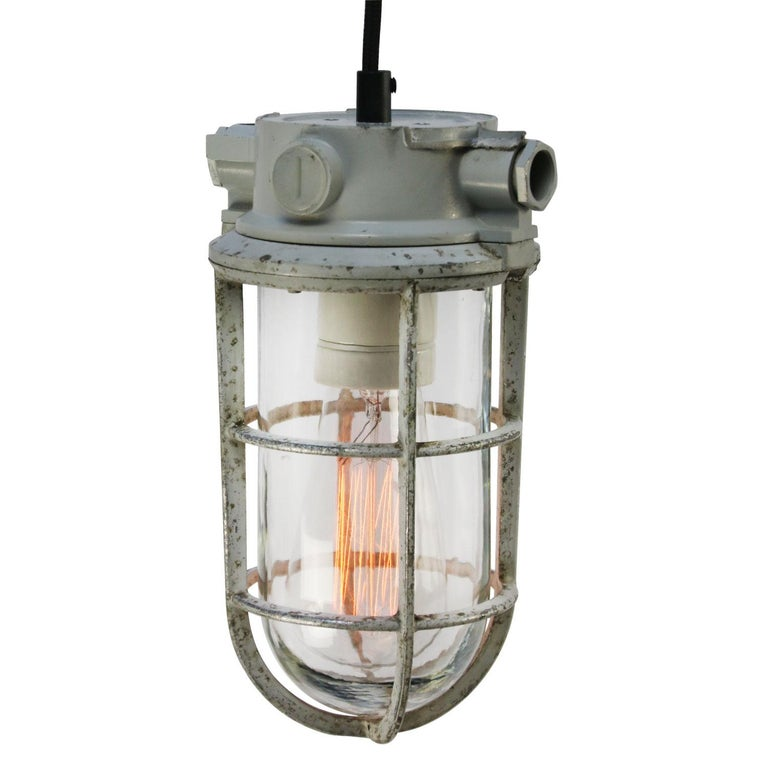 Dutch Gray Vintage Industrial Clear Glass Pendant Lights For Sale